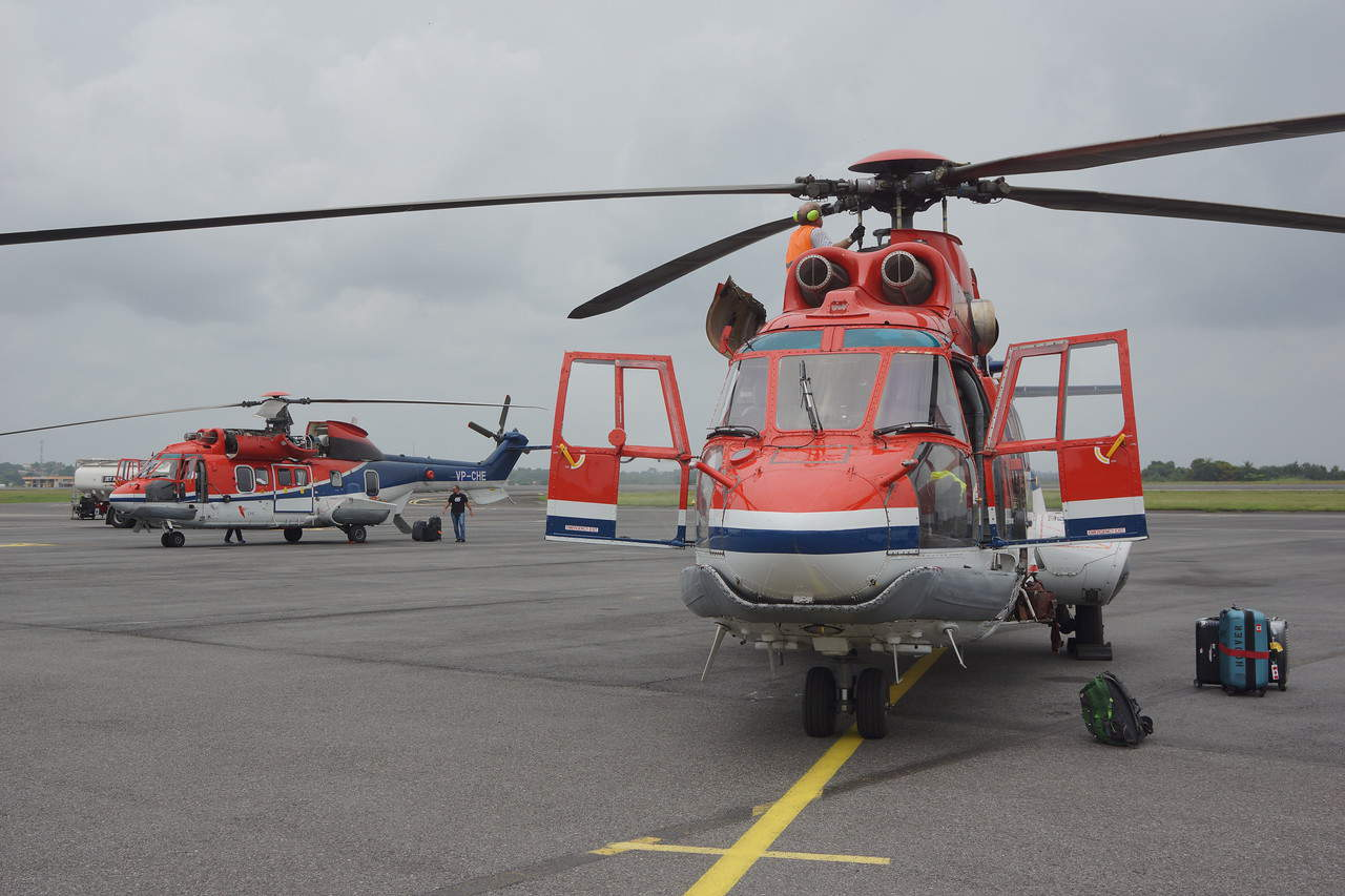 Superpuma helicopters waiting for departure