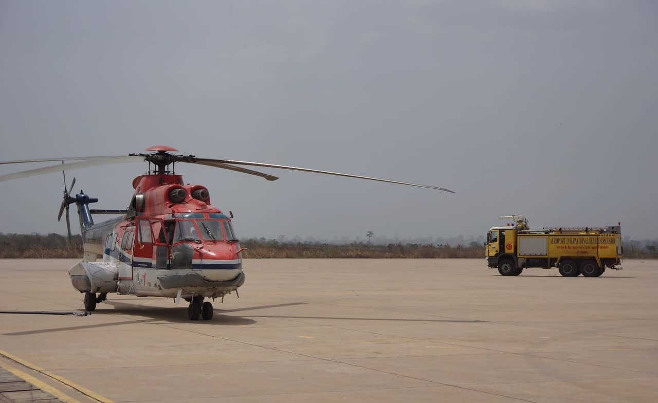 Helicopter refuel in Africa