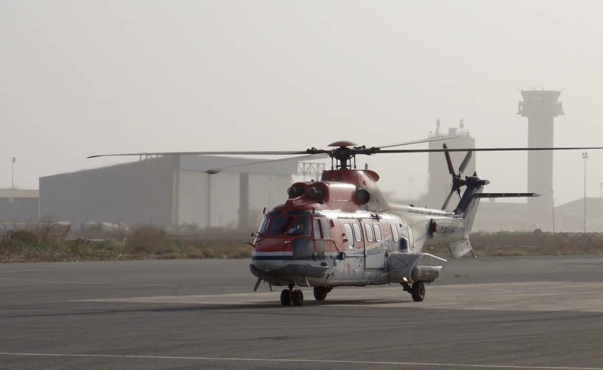 Superpuma helicopter ready for takeoff