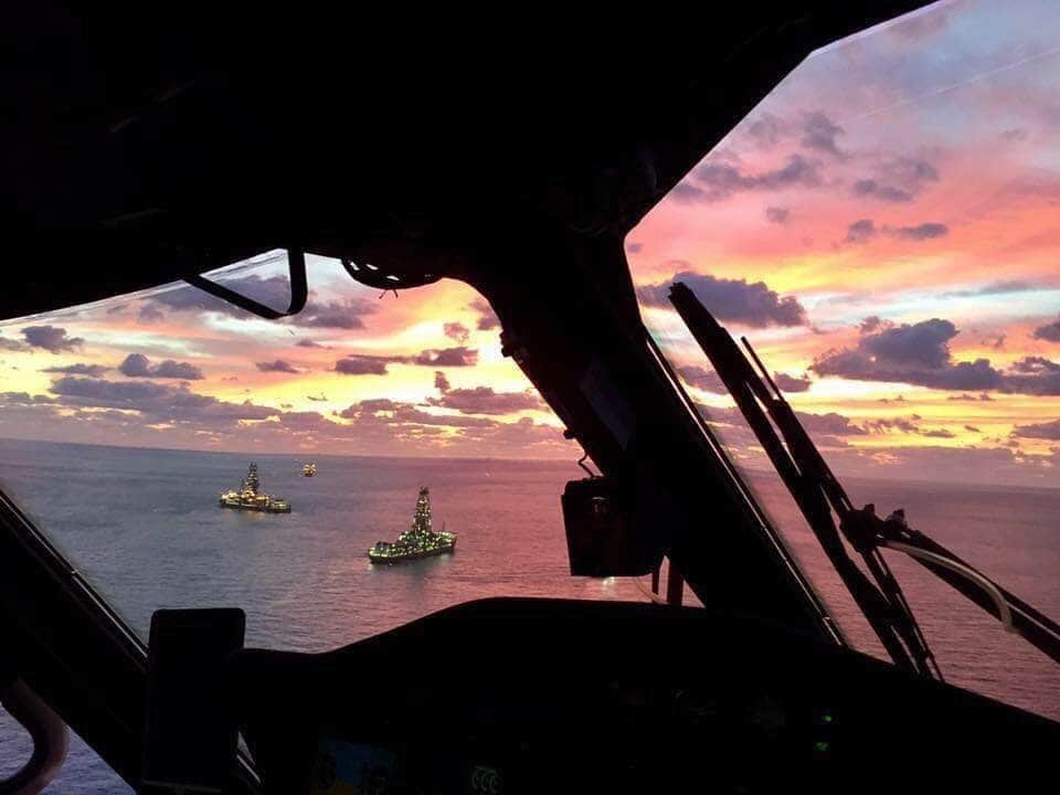 View from offshore helicopter approaching a rig