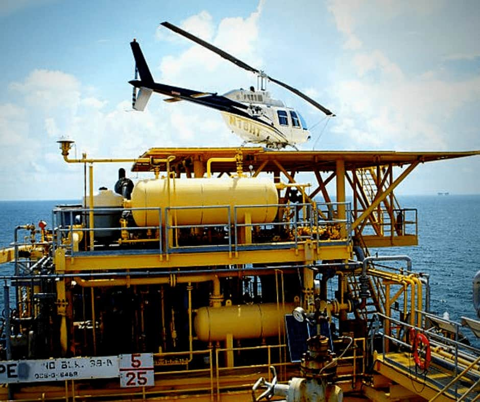 Bell 206B3 Helicopter on an offshore platform