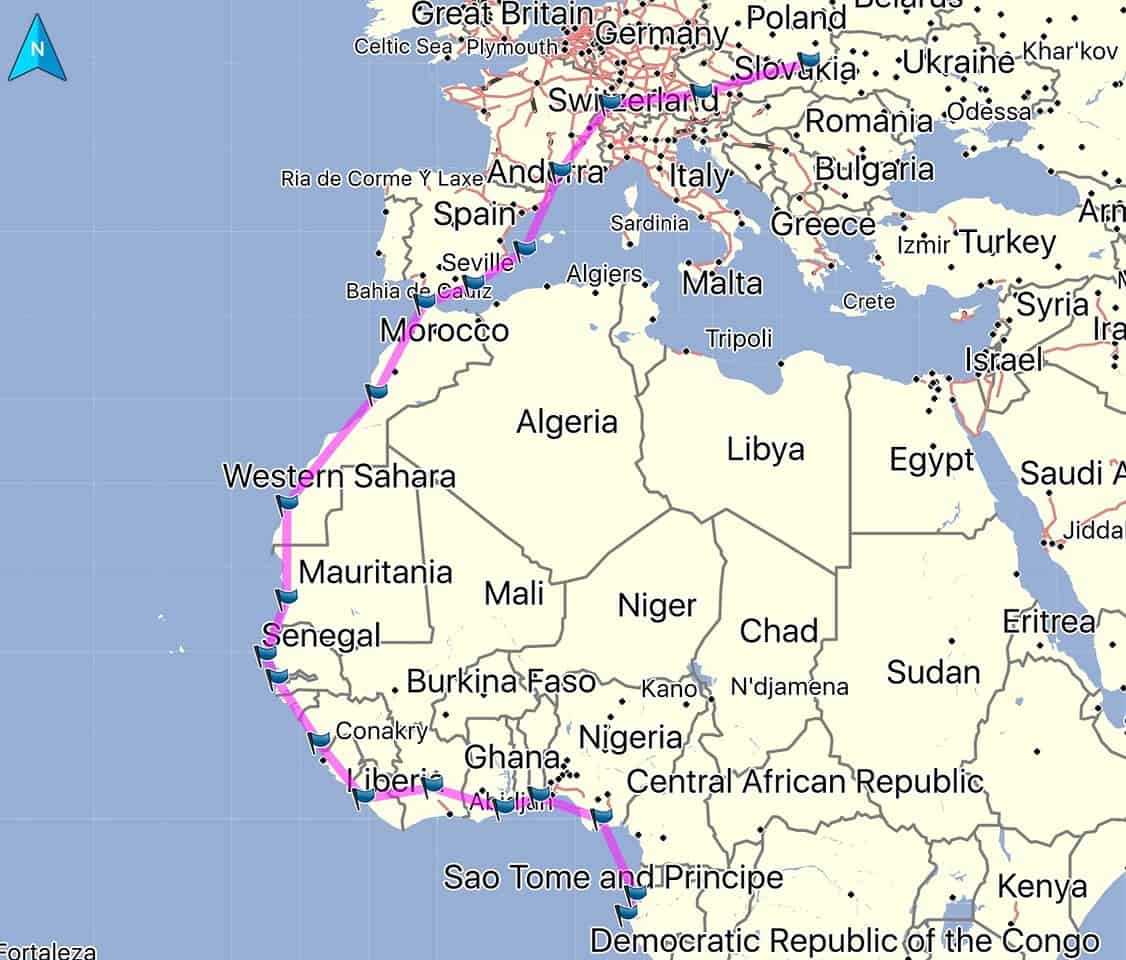 Planned flight along the african coast