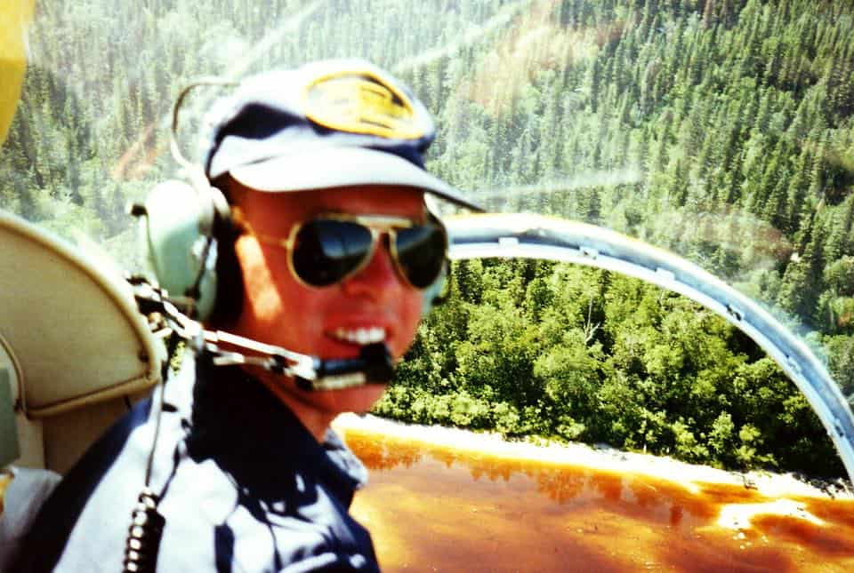 Cockpit picture flying the Bell 47 helicopter