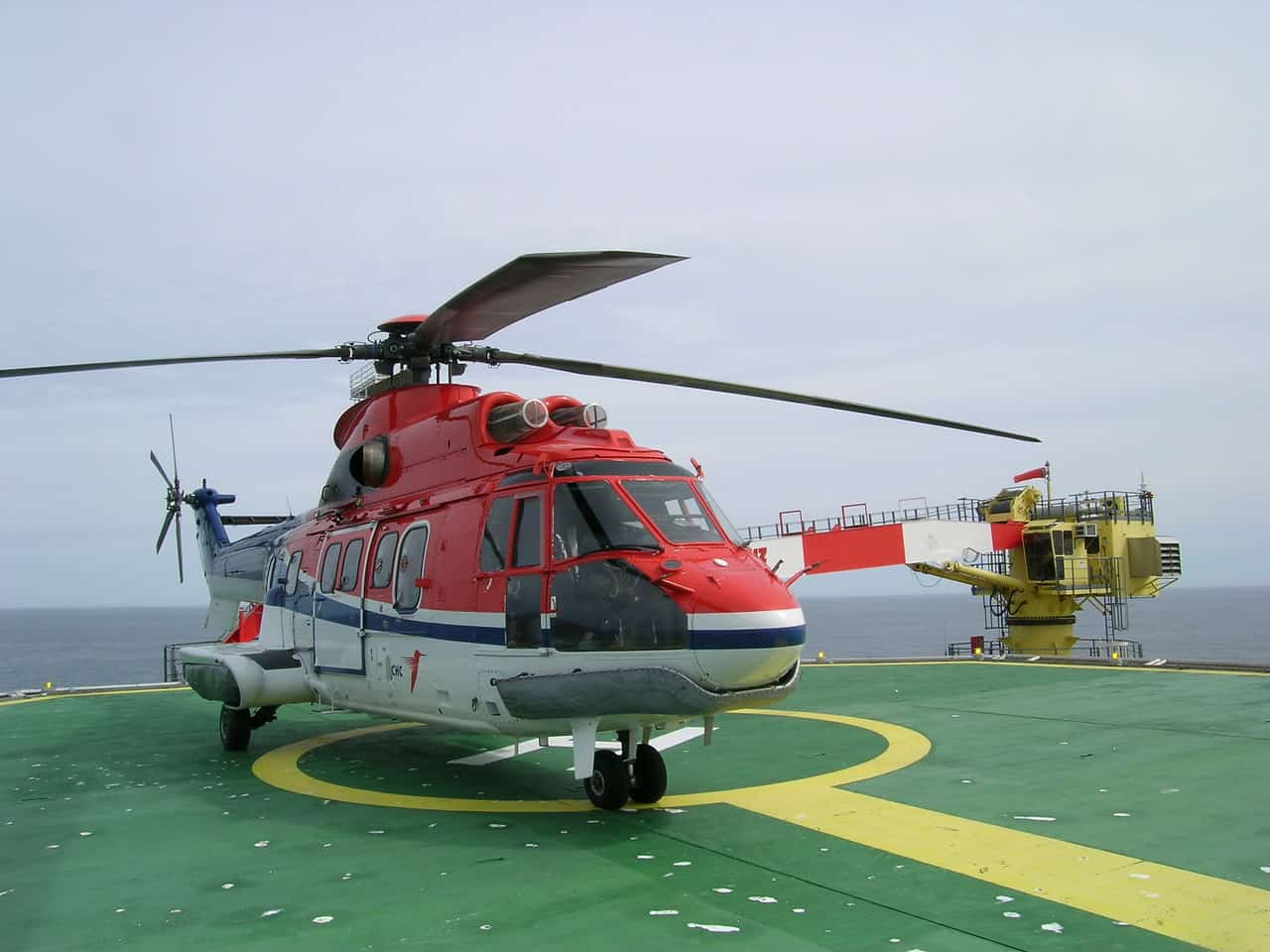 Superpuma Helicopter on an Offshore Oil Rig