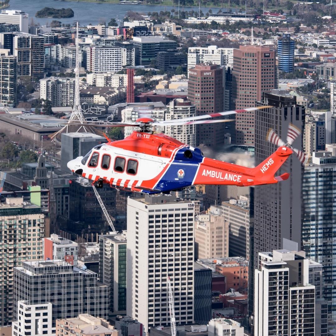 AW139 Over Melbourne Australia