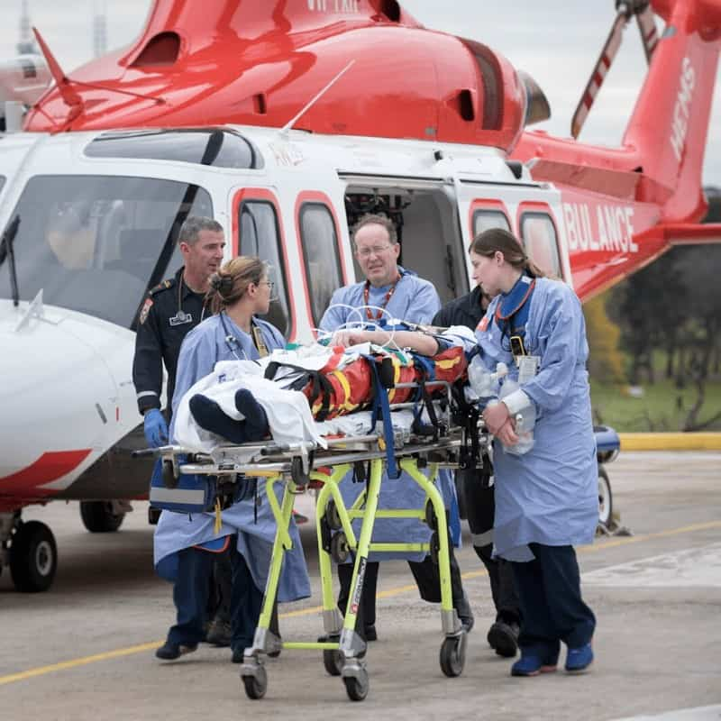 Medevac AW139 Helicopter delivering a patient to the Hospital