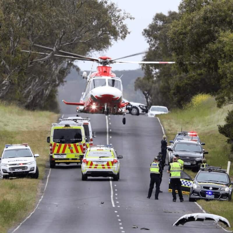 AW139 Medevac Helicopter landing near an accident on the highway