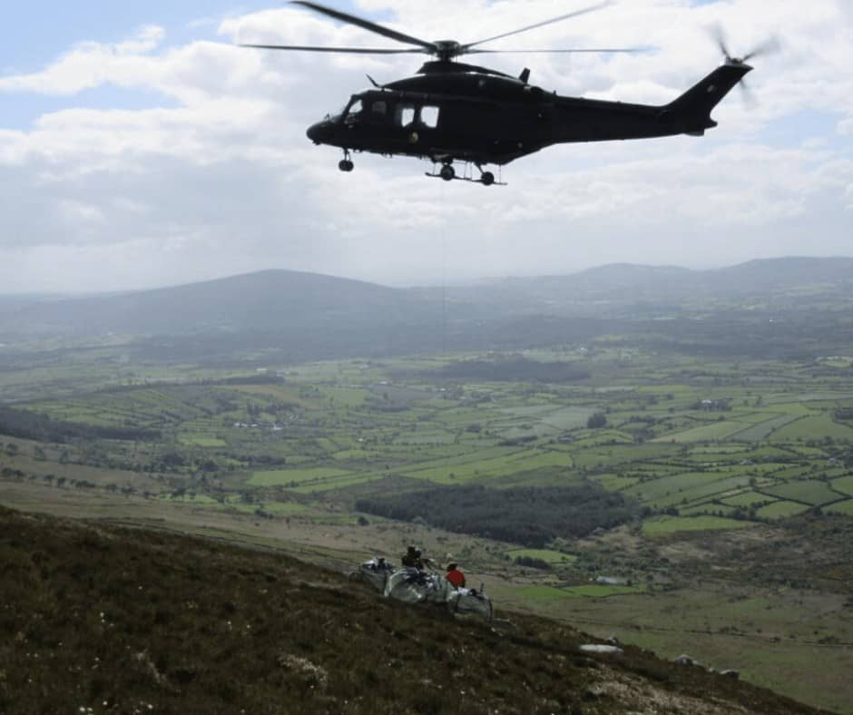 Downed aircraft recovery operations in the Blackstairs Mountains, using the AW139