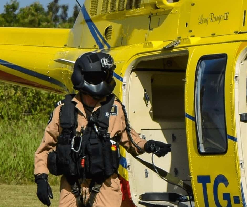 The Rotor Break Blog, A Day In The Life...Chief Aircrewman! Chris Sharpe, Aircrewman alongside the Bell 206 training aircraft