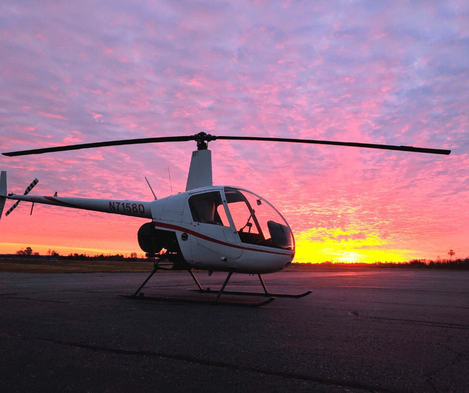 Robinson R22 at Sunset