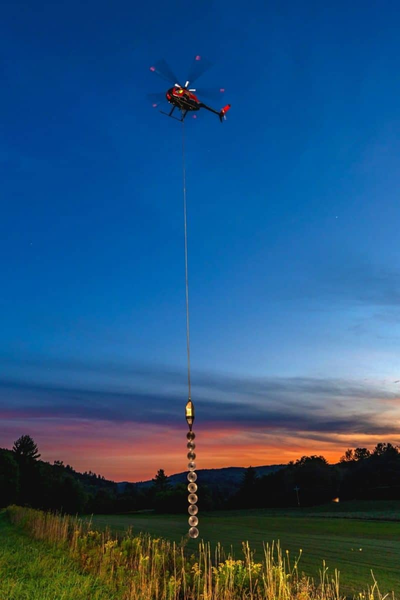 Aerial Saw, starting work at Sunrise